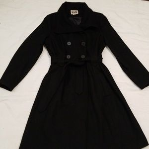 Converse Large wool double breasted black coat
